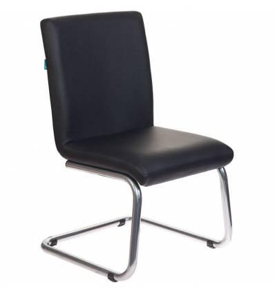 Кресло Бюрократ CH-250-V/BLACK для посетителя, хром, экокожа, цвет черный