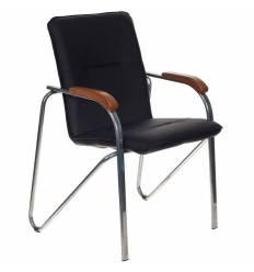 Кресло Бюрократ S-SAMBA/BLACK для посетителя, хром, экокожа, цвет черный