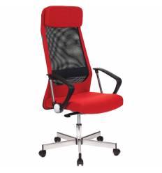 Кресло Бюрократ T-995HOME/RED для руководителя, сетка/ткань, цвет черный/красный