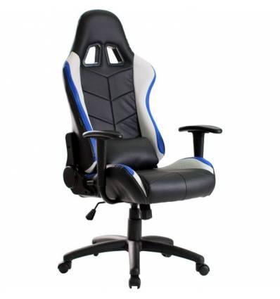 Кресло Trident GK-0909 Blue and White геймерское, экокожа, цвет черный/синий/белый