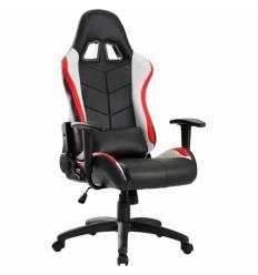 Кресло Trident GK-0909 Red and White геймерское, экокожа, цвет черный/красный/белый