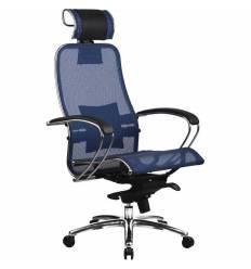 Кресло Samurai S-2.02 Blue для руководителя, сетка, цвет синий