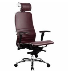Кресло Samurai K-3.02 Bordeaux для руководителя, кожа, цвет бордовый