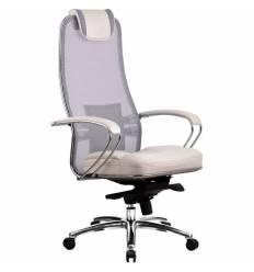 Кресло Samurai SL-1.02 White Swan для руководителя, сетка/кожа, цвет белый лебедь