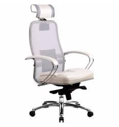 Кресло Samurai SL-2.02 White Swan для руководителя, сетка/кожа, цвет белый лебедь