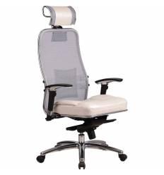 Кресло Samurai SL-3.02 White Swan для руководителя, сетка/кожа, цвет белый лебедь