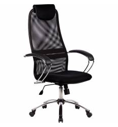 Кресло Metta BK-8 CH черный для руководителя, сетка/ткань (Галакси лайт)