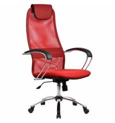 Кресло Metta BK-8 CH красный для руководителя, сетка/ткань (Галакси лайт)