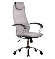 Кресло Metta BK-8 CH светло-серый для руководителя, сетка/ткань (Галакси лайт)