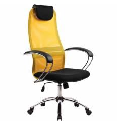 Кресло Metta BK-8 CH желтый/черный для руководителя, сетка/ткань (Галакси лайт)