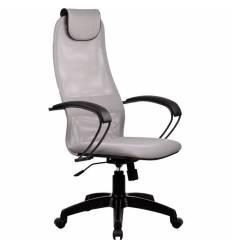 Кресло Metta BP-8 PL светло-серый для руководителя, сетка/ткань (Галакси лайт)