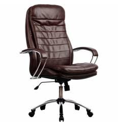 Кресло Metta LK-3 CH коричневый для руководителя, кожа