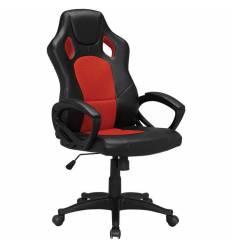 Кресло BRABIX Rider EX-544 для руководителя, экокожа черная, ткань красная