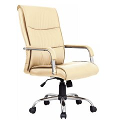 Кресло BRABIX Space EX-508 для руководителя, хром, экокожа, бежевое