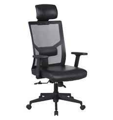 Кресло BRABIX Spectrum ER-402 для руководителя, экокожа, сетка, черное