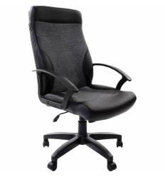 Кресло BRABIX Trust EX-535 для руководителя, экокожа черная, ткань серая