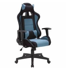 Кресло BRABIX GT Racer GM-100 игровое, две подушки, ткань, черное/голубое