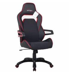 Кресло BRABIX GT Nitro GM-001 игровое, ткань, экокожа, черное, вставки красные