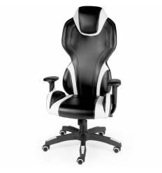Кресло NORDEN F1 геймерское, хром, экокожа, цвет черный с белыми вставками