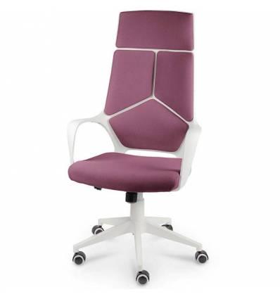 Кресло NORDEN IQ White Violet для руководителя, белый пластик, ткань, цвет фиолетовый