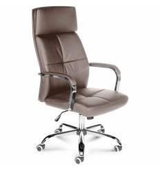 Кресло NORDEN Alex Coffee Milk для руководителя, хром, экокожа, цвет кофе с молоком