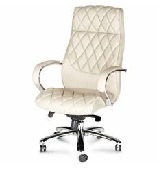 Кресло NORDEN Bond Ivory для руководителя, хром, экокожа, цвет слоновая кость