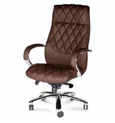 Кресло NORDEN Bond Dark Brown для руководителя, хром, экокожа, цвет темно-коричневый