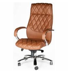 Кресло NORDEN Bond Brown для руководителя, хром, экокожа, цвет рыже-коричневый
