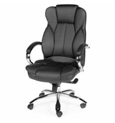 Кресло NORDEN Versa Black для руководителя, хром, экокожа, цвет черный