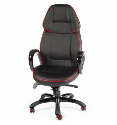 Кресло NORDEN Winner геймерское, экокожа, цвет черный c красным кантом