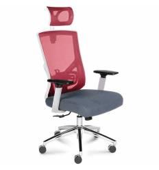 Кресло NORDEN Garda Cherry для руководителя, белый пластик, сетка, ткань, цвет вишневый, серый