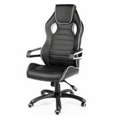 Кресло NORDEN Joker геймерское, экокожа, цвет черный c белым кантом