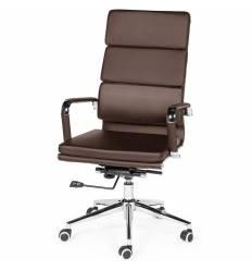Кресло NORDEN Zoom Brown для руководителя, хром, экокожа, цвет коричневый