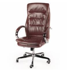 Кресло NORDEN Logo Brown для руководителя, хром, экокожа, цвет коричневый