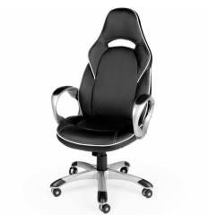 Кресло NORDEN Mustang  X Black White геймерское, экокожа, цвет черный с белым кантом