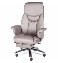 Кресло NORDEN Parlament Grey-Brown для руководителя, хром, экокожа, цвет серо-коричневый