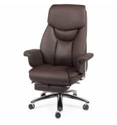 Кресло NORDEN Parlament Brown для руководителя, хром, экокожа, цвет коричневый