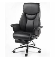 Кресло NORDEN Parlament Black Leather для руководителя, хром, кожа, цвет черный