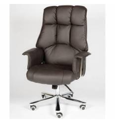 Кресло NORDEN President Brown Leather для руководителя, хром, кожа, цвет черный