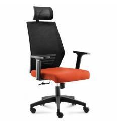 Кресло NORDEN Prestige Black Black Orange  для руководителя, черный пластик, черная сетка, оранжевая ткань