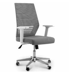Кресло NORDEN Prestige White LB Full Grey для руководителя, белый пластик, серая сетка, серая ткань