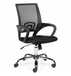 Кресло NORDEN Spring Chrome Black для оператора, хром, черная сетка, черная ткань