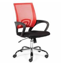 Кресло NORDEN Spring Chrome Red для оператора, хром, красная сетка, черная ткань