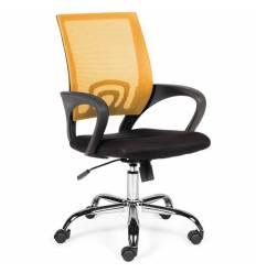 Кресло NORDEN Spring Chrome Orange для оператора, хром, оранжевая сетка, черная ткань