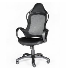 Кресло NORDEN Sprint Black геймерское, черный пластик, сетка, ткань, экокожа, цвет черный