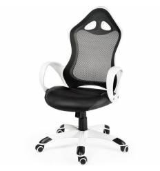 Кресло NORDEN Tesla White Black геймерское, белый пластик, сетка, ткань, экокожа, цвет черный
