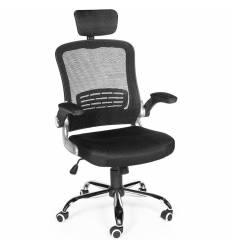 Кресло NORDEN Flexa для оператора, хром, черная сетка, черная ткань
