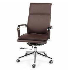 Кресло NORDEN Harman Brown для руководителя, хром, экокожа, цвет коричневый