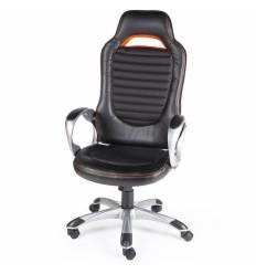 Кресло NORDEN Shelby геймерское, серый пластик, ткань, экокожа, цвет черный, оранжевая строчка