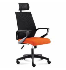 Кресло NORDEN Ergo Black Black Orange для руководителя, черный пластик, черная сетка, оранжевая ткань